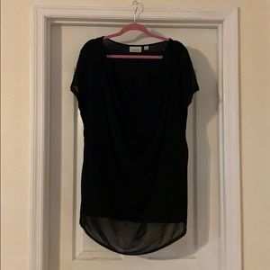 Women's plus size 26/28 black drape front shirt
